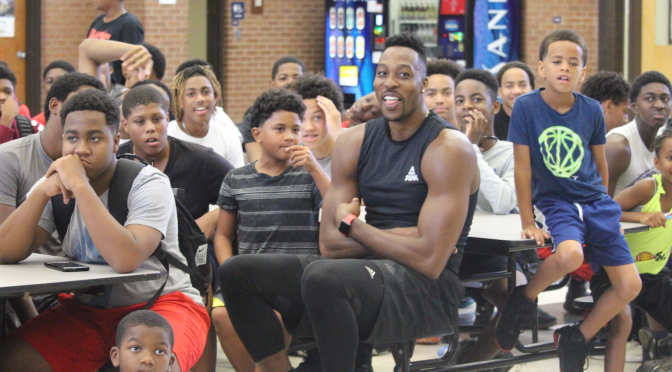 Wizard's Dwight Howard & T.I. show up for the Kids at LA Clipper's Point Guard Lou Williams Annual Summer Camp