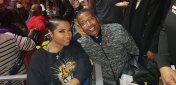 Toya Wright pose with Universoul Circus Founder Cedric Walker
