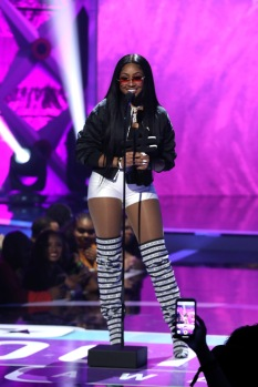 ATLANTA, GA - MARCH 03: Yung Miami accepts an award onstage during the 2019 BET Social Awards at Tyler Perry Studio on March 3, 2019 in Atlanta, Georgia. (Photo by Bennett Raglin/Getty Images for BET)