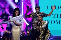 ATLANTA, GA - MARCH 03: (L-R) Jasmin Brown, D.C. Young Fly, and Jess Hilarious speak onstage during the 2019 BET Social Awards at Tyler Perry Studio on March 3, 2019 in Atlanta, Georgia. (Photo by Bennett Raglin/Getty Images for BET)