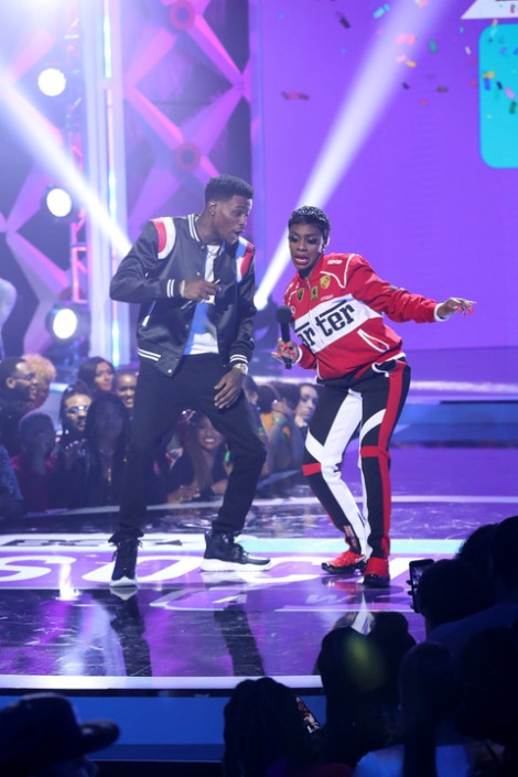 ATLANTA, GA - MARCH 03: D.C. Young Fly and Jess Hilarious perform onstage during the 2019 BET Social Awards at Tyler Perry Studio on March 3, 2019 in Atlanta, Georgia. (Photo by Bennett Raglin/Getty Images for BET)