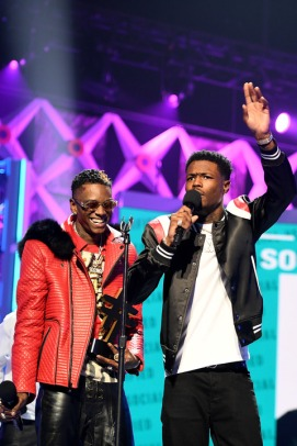 ATLANTA, GA - MARCH 03: (L-R) Soulja Boy and D.C. Young Fly speak onstage during the 2019 BET Social Awards at Tyler Perry Studio on March 3, 2019 in Atlanta, Georgia. (Photo by Marcus Ingram/Getty Images for BET)