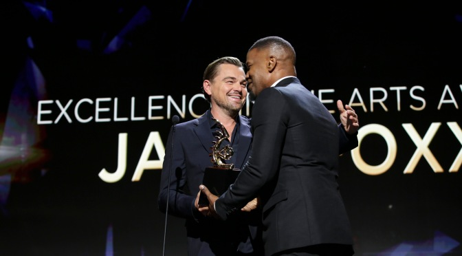 Leonardo DiCaprio Surprises Jamie Foxx at ABFF Honors