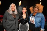 """ATLANTA, GEORGIA - MARCH 10: (L-R) Debra Antney, Tammy Rivera, and Mona Smith attend the premiere of """"Waka & Tammy: What The Flocka"""" at Republic on March 10, 2020 in Atlanta, Georgia. (Photo by Paras Griffin/Getty Images WE tv)"""