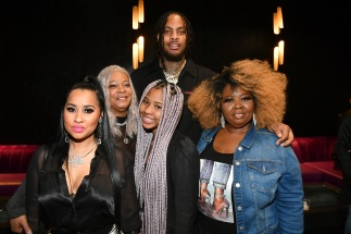 """ATLANTA, GEORGIA - MARCH 10: (L-R) Tammy Rivera, Debra Antney, Charlie Rivera, Mona Smith, Lauren Gellert and Waka Flocka attend the premiere of """"Waka & Tammy: What The Flocka"""" at Republic on March 10, 2020 in Atlanta, Georgia. (Photo by Paras Griffin/Getty Images WE tv)"""