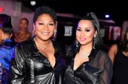 """ATLANTA, GEORGIA - MARCH 10: Trina Braxton and Tammy Rivera attend the premiere of """"Waka & Tammy: What The Flocka"""" at Republic on March 10, 2020 in Atlanta, Georgia. (Photo by Paras Griffin/Getty Images WE tv)"""